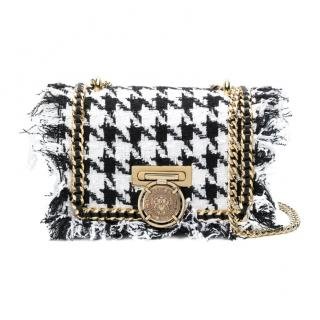 Balmain houndstooth fringed shoulder bag