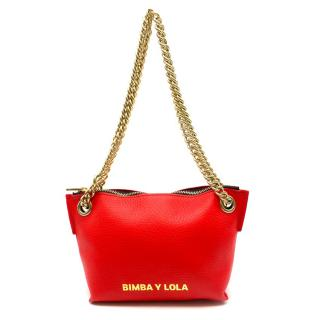 Bimba Y Lola Red Leather Trapezium Cross-body Bag