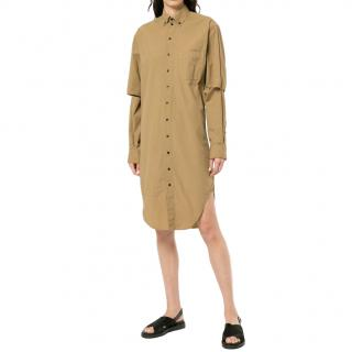 Bassike Dark Tan Lightweight Cotton Shirt Dress