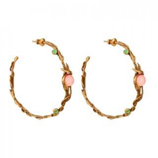 18322304290 Christian Dior Dove Antiqued Gold-Tone Hoop Earrings