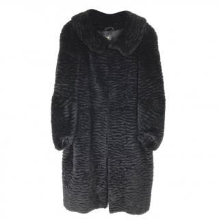Anya Hindmarch Black Rabbit Fur Coat