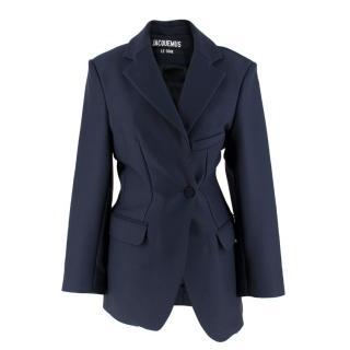 Jacquemus Le Souk Navy Wool-blend Blazer