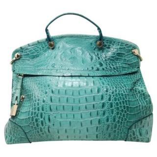 Furla Turquoise Crocodile Embossed Tote Bag