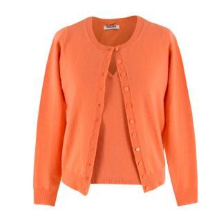 Max & Moi Orange Cashmere & Wool-blend Top & Cardigan