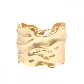 Kenneth J Lane Gold Toned Wide Hinged Bangle