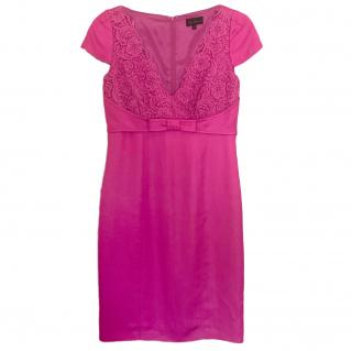 Luisa Spagnoli Pink Lace Trim Dress