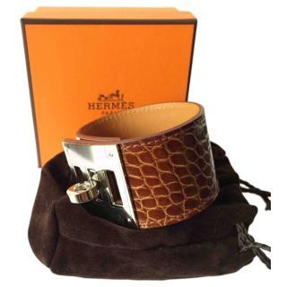 Hermes Honey Alligator Leather Kelly Cuff