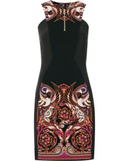 Versace Collection Black Baroque Print Dress