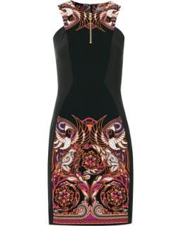 Versace Collection Black Baroque Print Dress
