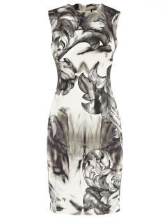 Versace Collection Monochrome Baroque Print Dress