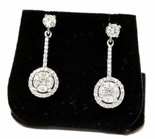 Bespoke marquise and princess cut drop diamond 2ct earrings