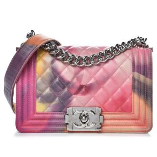 Chanel Quilted Leather Flower Power Small Boy Bag