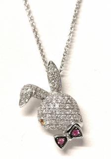 Yossi Dina Pave Diamond Set Bunny Pendant Necklace W/ Ruby & Sapphire