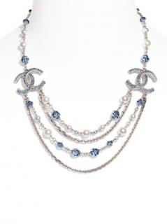 Chanel Silver, Pearly White, Blue & Crystal Necklace