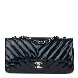 Chanel Patent Chevron Leather Navy East West Flap Bag
