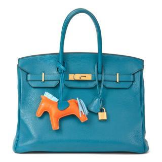Hermes Clemence Leather Blue Izmir 35cm Birkin Bag