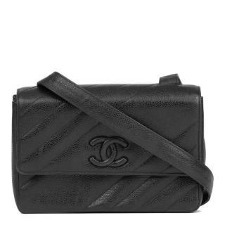 Chanel Vintage Black Caviar Leather CC Shoulder Bag