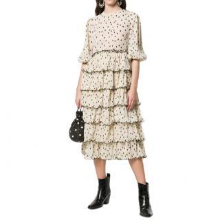 Ganni Polka Dot Tiered Midi Dress