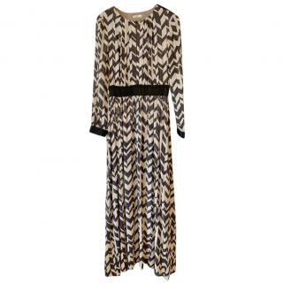 Day Birger et Mikkelsen long black and cream silk blend dress