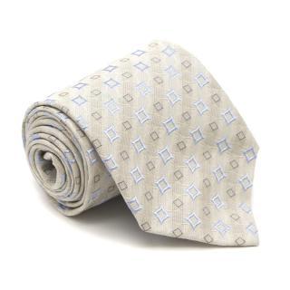 Ermenegildo Zegna Cream and Blue Patterned Silk Tie