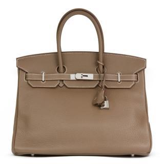 Hermes Togo Leather Etoupe 35cm Birkin Bag