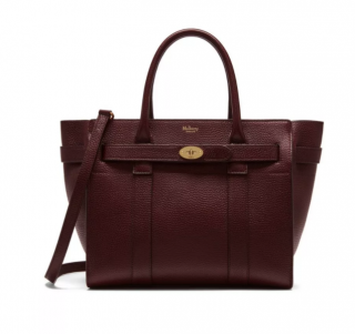 Mulberry Small Zipped Bayswater in Oxblood Natural Grain Leather