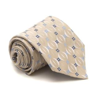 Ermenegildo Zegna Cream and Blue Patterned Silk Tie