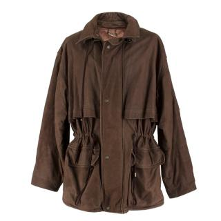 Falco Brown Leather & Wool Blend Men's Country Jacket