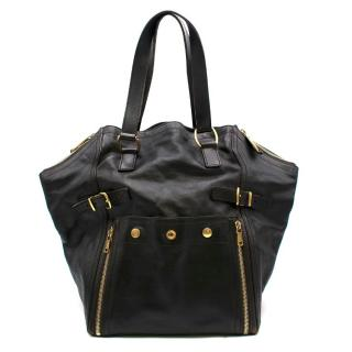 Yves Saint Laurent Black Leather Downtown Medium Tote Bag