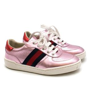 Gucci Metallic Pink Leather Sneakers