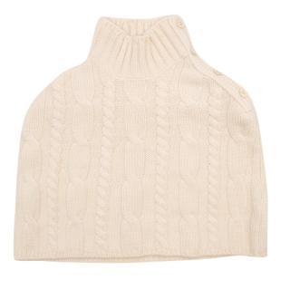 Loro Piana Kids' Cream Cashmere Cable Knit Poncho