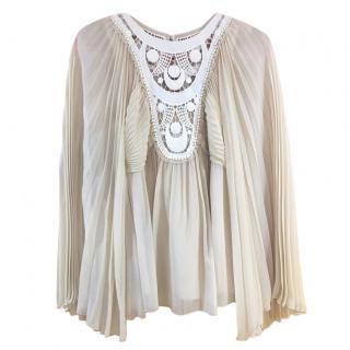 Chloe crocher-insert chiffon blouse