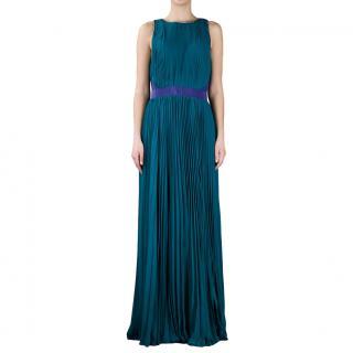 Halston sleeveless pleated gown