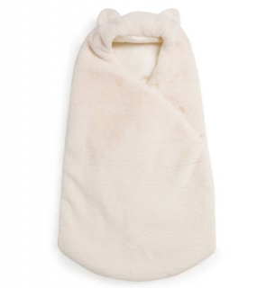 Bonpoint White Faux Fur Baby Wrap