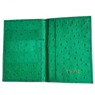Etoile Green Ostrich Leather Passport Holder