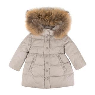 Moncler Girls' Light Grey Fur Hood Down Jacket