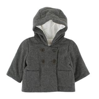 Bonpoint Girls' Grey Wool-blend Hooded Coat