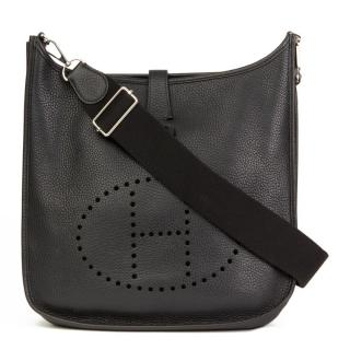 Hermes Clemence Leather Black Evelyne III 33 Bag