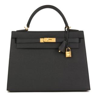Hermes Epsom Leather Black 32cm Kelly Sellier