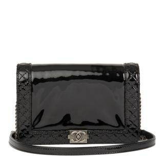 Chanel Quilted Trim Patent Black Small Reverso Boy Bag