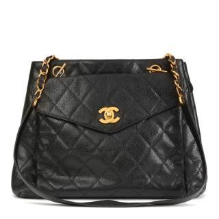 Chanel Vintage Caviar Leather Black Shoulder Bag