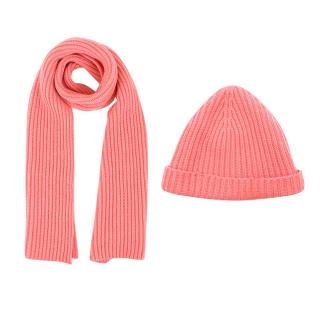 Loro Piana Kid's Pink Cashmere Knit Hat and Scarf Set