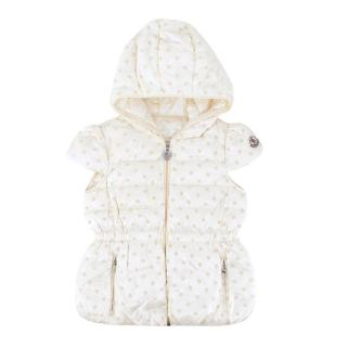 Moncler Girls' Beige Short-sleeved Hooded Down Jacket