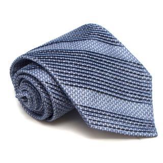 Stefano Ricci Blue Printed Pleated Silk Tie