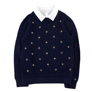 Gucci Girls' Navy Crystal Embellished Jumper