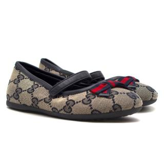 Gucci Girls Blue GG Supreme Ballet Flats
