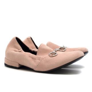 Gucci Girls Powder Pink Suede Loafers
