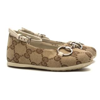 Gucci Girls' Beige GG Supreme Canvas Ballet Flats