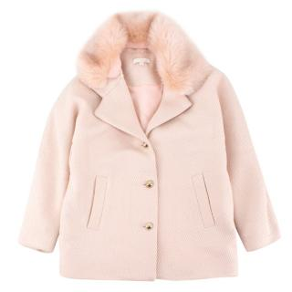 Chloe Girls Metallic Pink Faux Fur Collar Coat