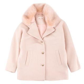 Chloe Girls Metallic Pink Faux Fur Collar Coat